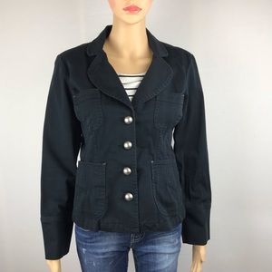 FB Military Black Blazer Jacket Silver Buttons M